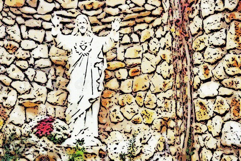 Illusion de coeur sacré de statue de Jésus image stock