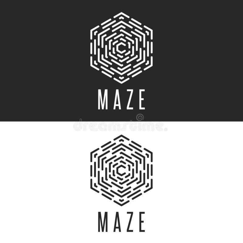 Illusion de cube en logo de labyrinthe, ligne mince icône de technologie de symbole de labyrinthe, insignes noirs et blancs de ré illustration stock