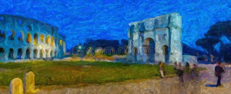 Illusion de la voûte triomphale et de l'amphithéâtre romains photos libres de droits