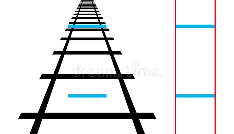 Illusion de Ponzo, illusion optique géométrique illustration de vecteur