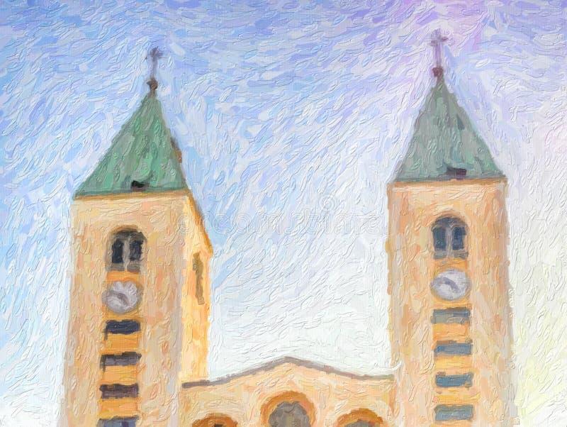 Illusion de saint James Church dans Medjugorje photographie stock