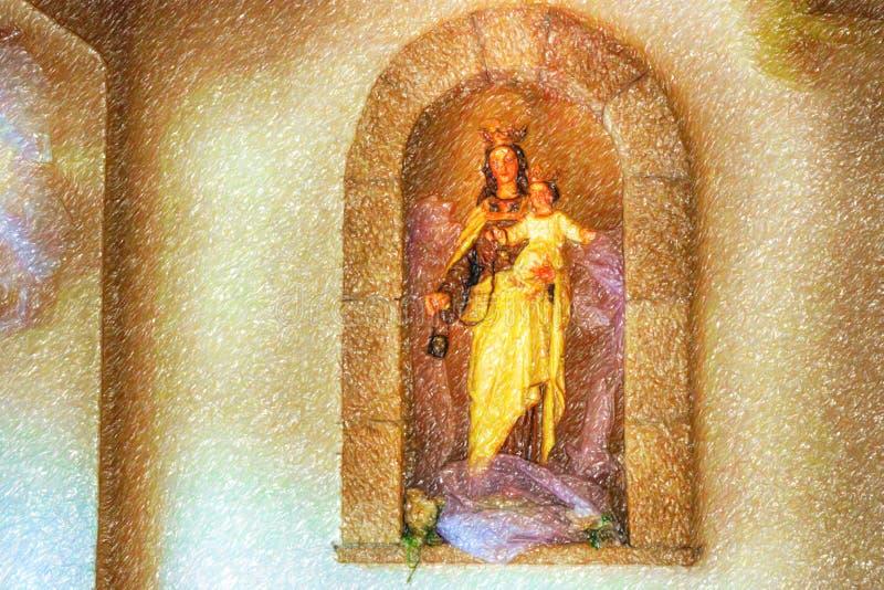 Illusion de Vierge Marie béni avec le bébé Jésus image libre de droits