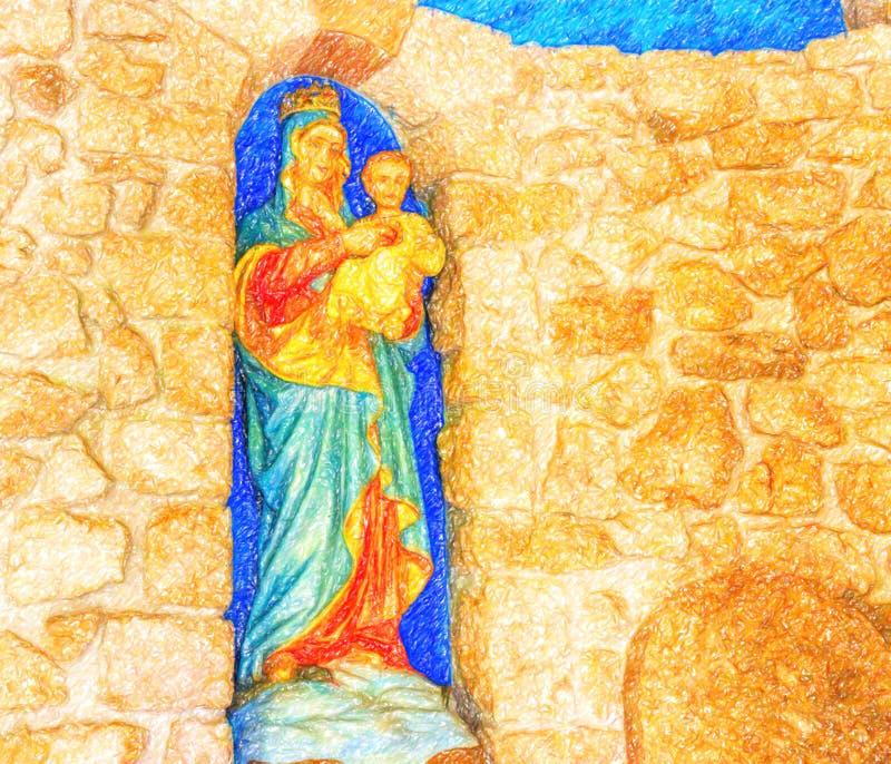 Illusion de Vierge Marie b?ni avec le b?b? J?sus image libre de droits