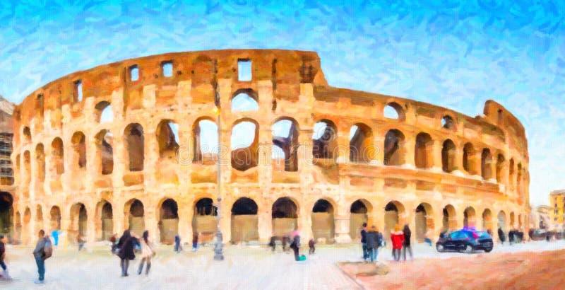 Illusion des murs et des voûtes de l'amphithéâtre romain photographie stock libre de droits