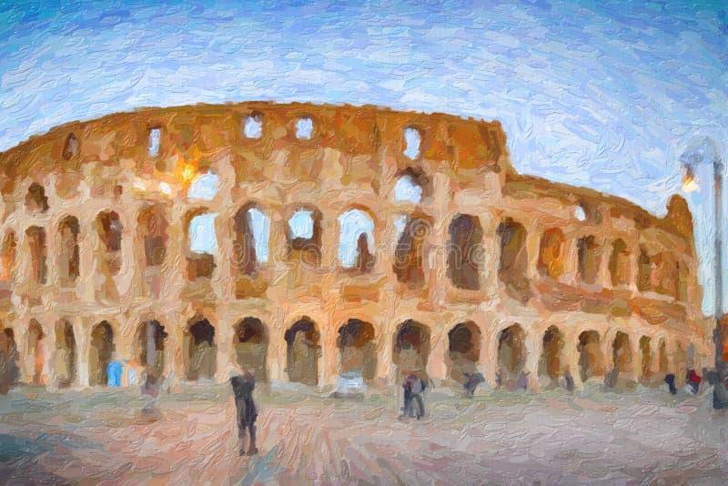 Illusion des murs et des vo?tes de l'amphith??tre romain photo stock