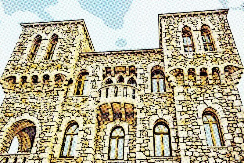 Illusion du bâtiment avec les murs en pierre image libre de droits