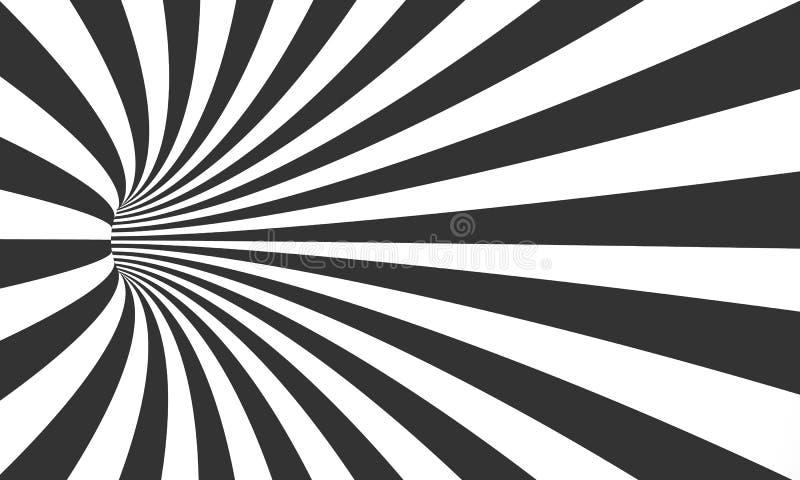 Illusion för vektorspiraltunnel Bakgrund för tunnel för virvelrörelse gjord randig stock illustrationer