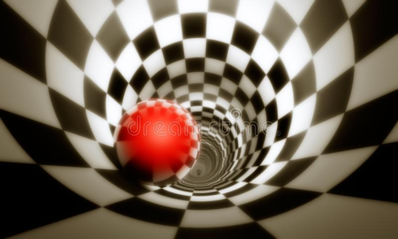 Illusion of freedom predeterminmation. Red ball in a chess tun. Nel concept image. The space and time. 3D illustration. Available in high-resolution and several vector illustration