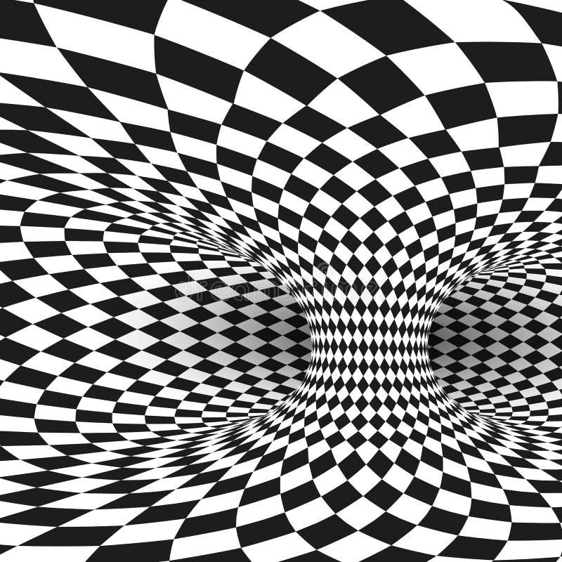 Illusion optique noire et blanche de place géométrique Le tunnel abstrait de trou de ver tordent Illustration de vecteur illustration de vecteur