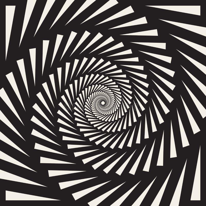 Illusione ottica dei triangoli di vettore dell'estratto a spirale in bianco e nero di turbinio royalty illustrazione gratis
