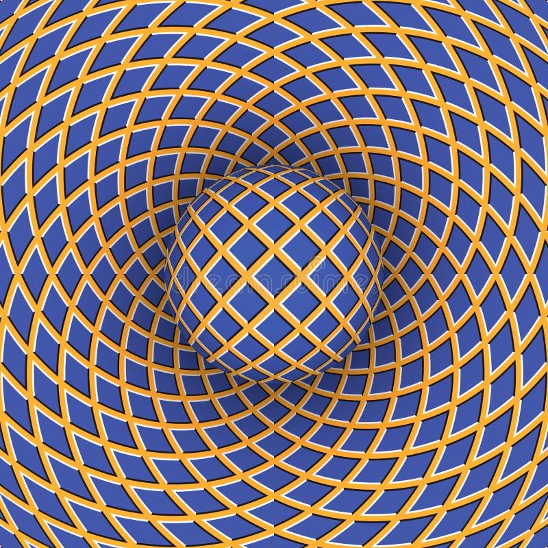 Illusione ottica di rotazione della palla contro lo sfondo di uno spazio commovente royalty illustrazione gratis