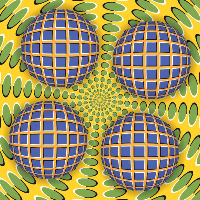 Illusione ottica di una rotazione della palla quattro intorno di una superficie commovente royalty illustrazione gratis