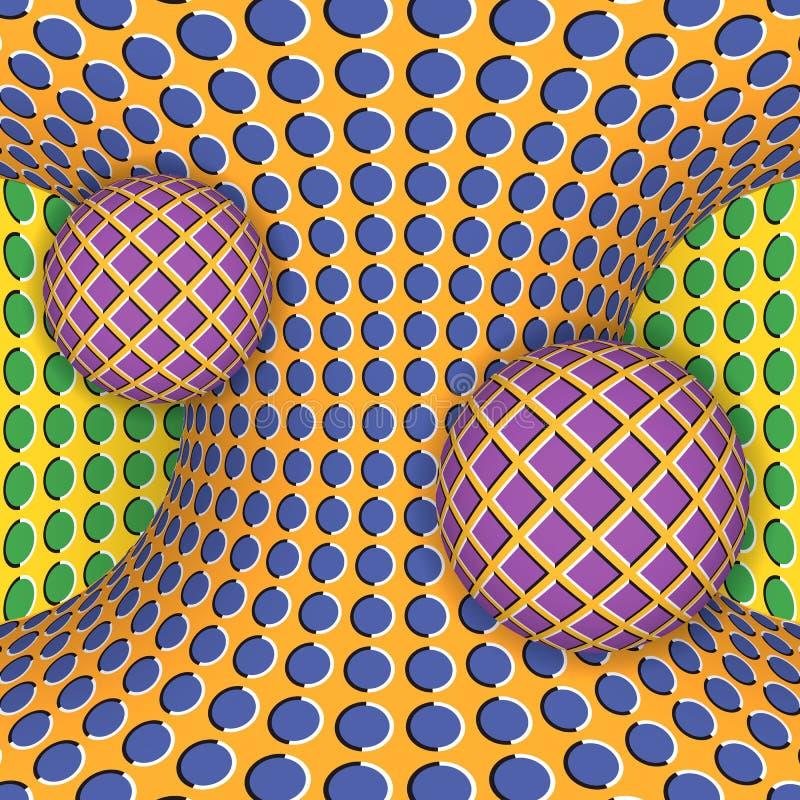 Illusione ottica di una rotazione di due palle intorno di un hyperboloid commovente royalty illustrazione gratis