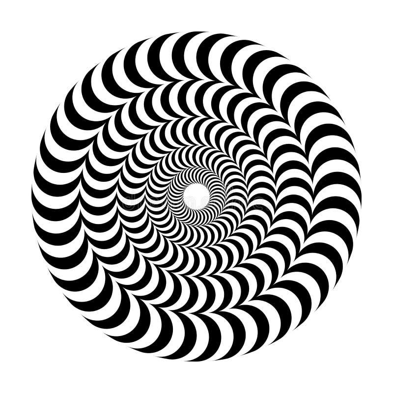 Illusione ottica di volume Il vettore rotondo ha isolato il modello in bianco e nero su un fondo bianco illustrazione di stock