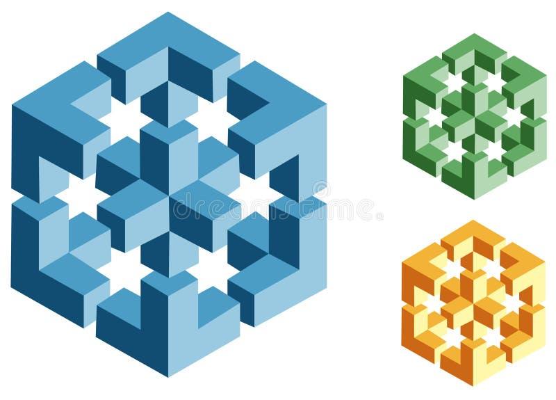 Illusioni ottiche degli oggetti impossibili illustrazione vettoriale