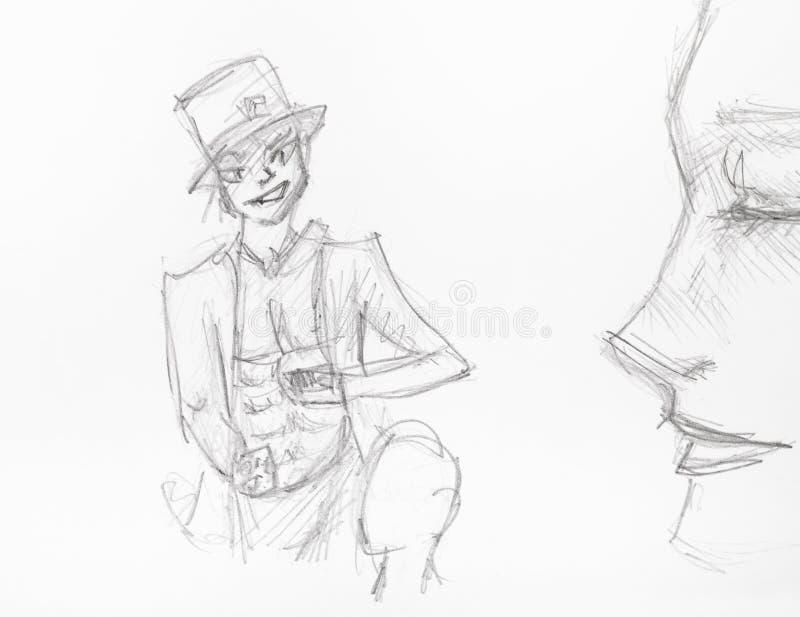 Illusionniste de Sly dans le chapeau sup?rieur tir? par la main par le crayon illustration stock