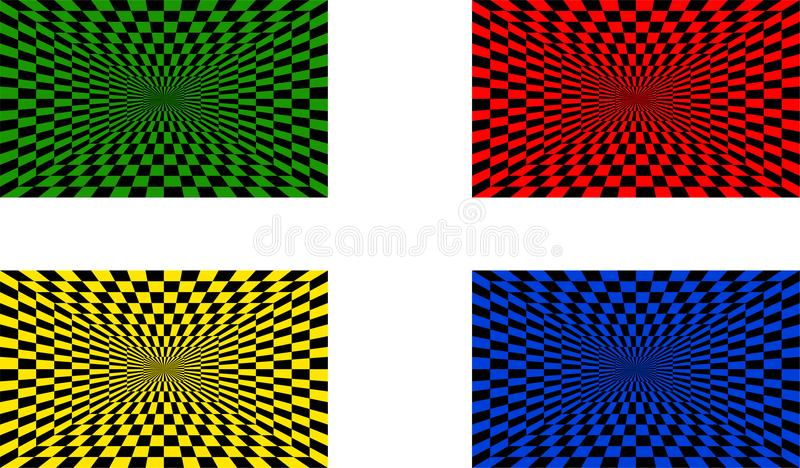 Illusions optiques réglées de quatre illustration de vecteur