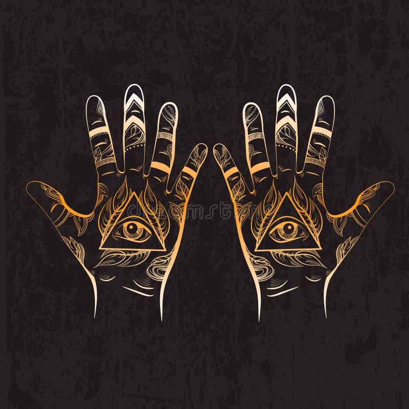 Illusitration de la mano con todo el símbolo de la pirámide del ojo que ve ilustración del vector