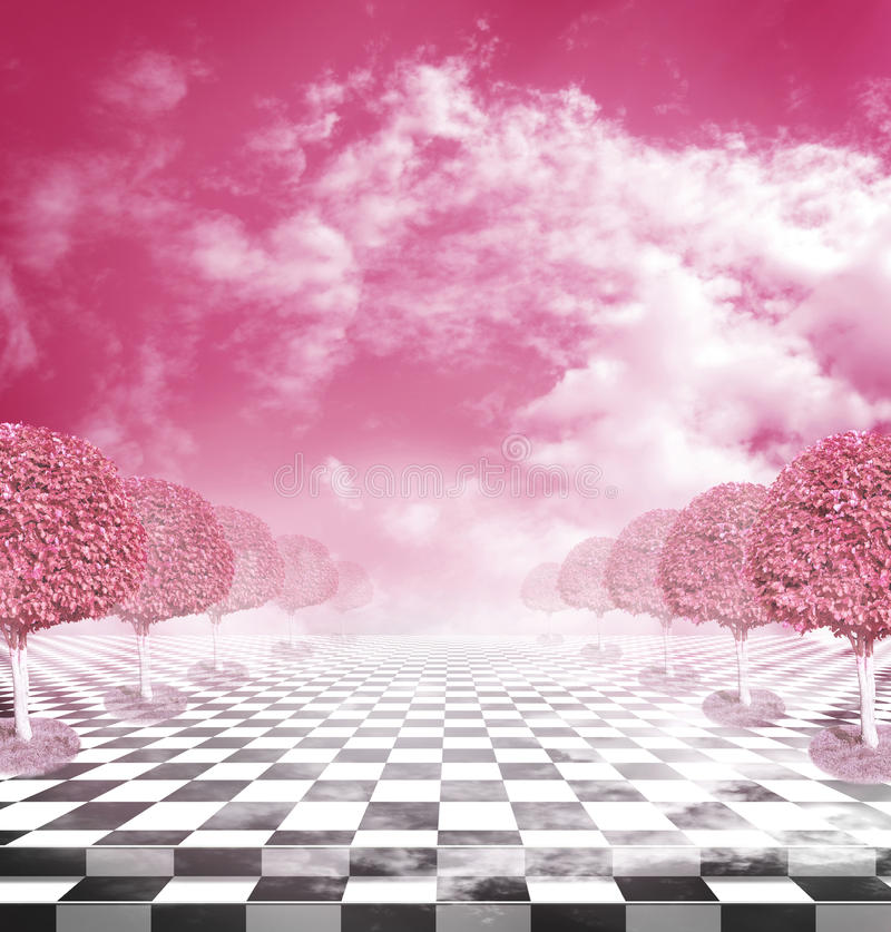Illusive chess surface with pink trees royalty free stock photos