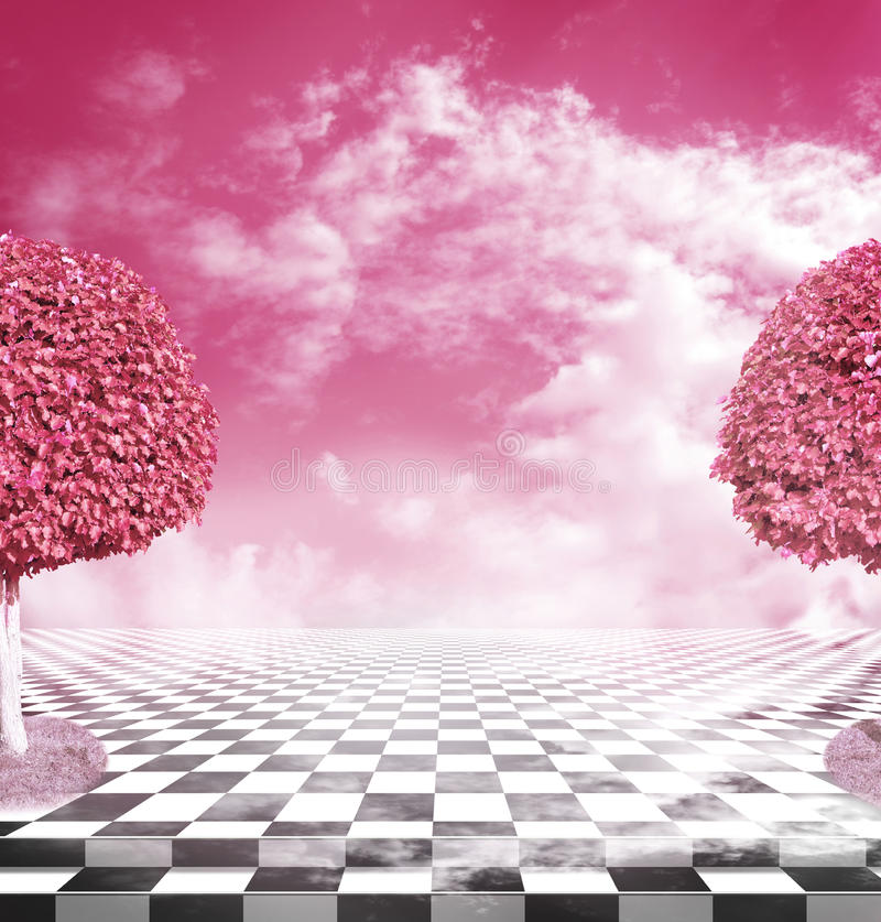 Illusive chess surface with pink trees stock photography
