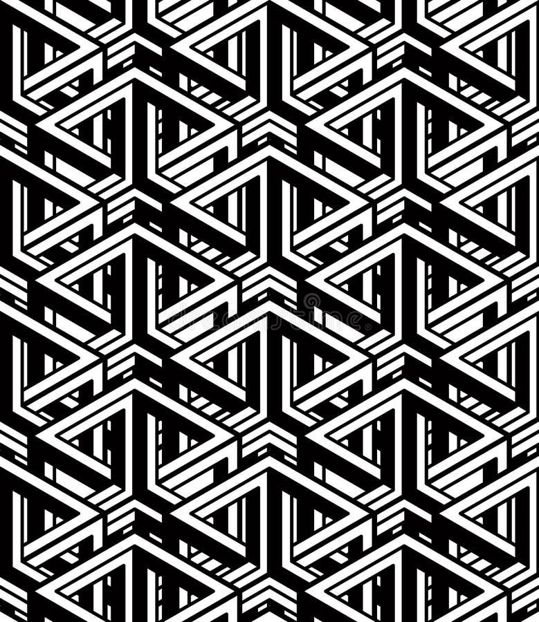 Illusive fortlöpande monokrom modell, dekorativt abstrakt begrepp tillbaka vektor illustrationer