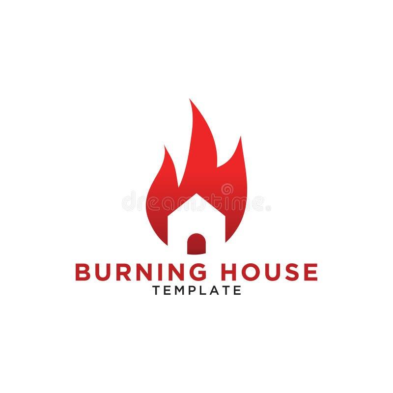 Illusration van het branden van het ontwerpmalplaatje van het huisembleem royalty-vrije illustratie
