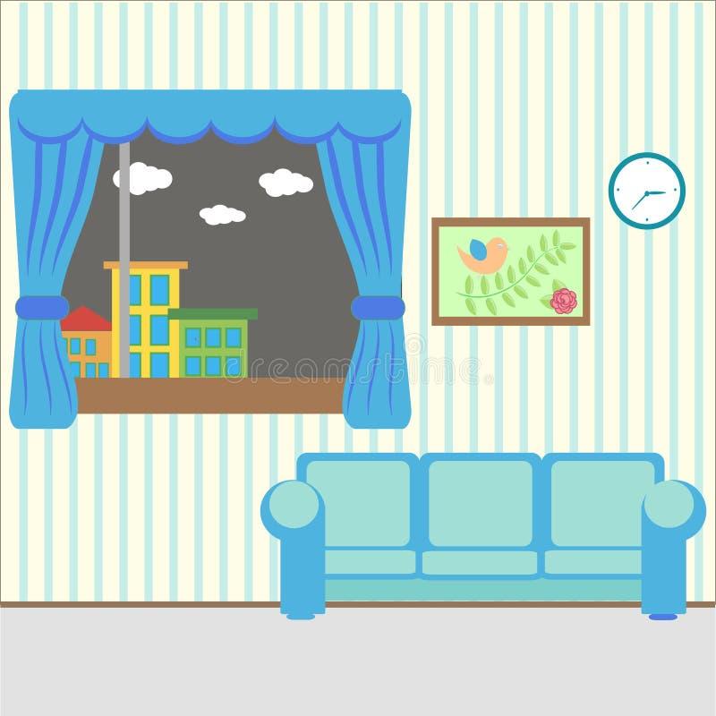 Trevligt rum med ett fönster stock illustrationer
