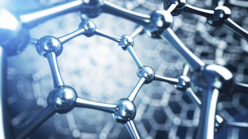 illusrtation 3d av graphenemolekylar Nanoteknikbakgrundsillustration arkivfoton