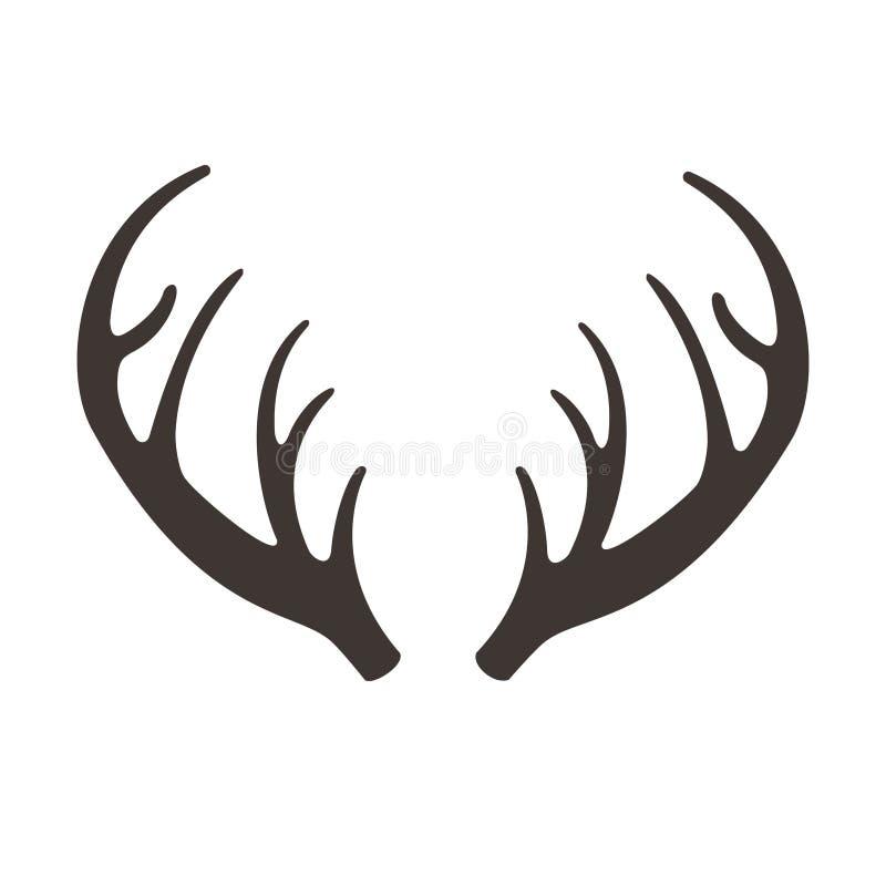 Illusrtation de vecteur de klaxons de cerfs communs Icône de silhouette de vecteur d'andouillers Trophées de chasse renne illustration stock