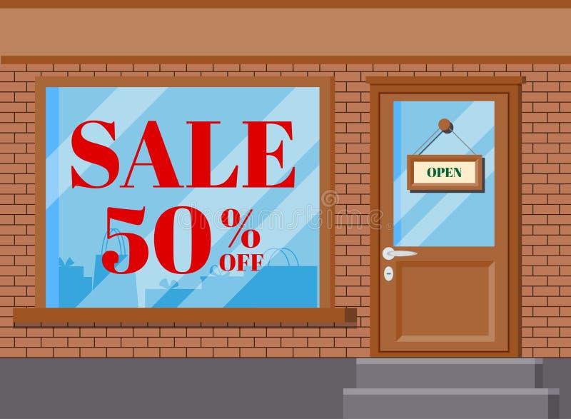 Illusrtation plano del vector del frente clásico de la tienda del boutique de la tienda ilustración del vector