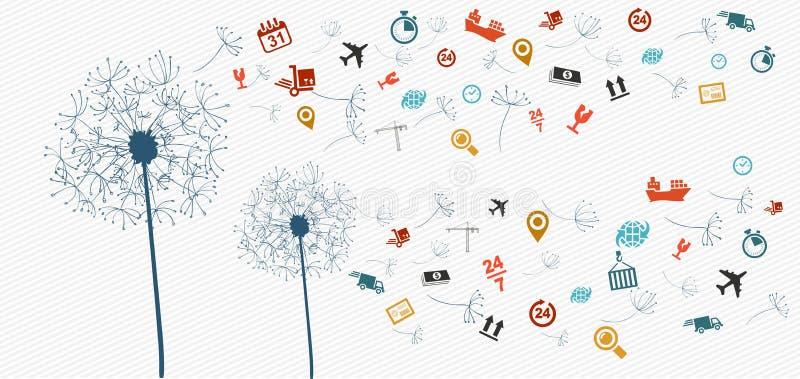Illust abstrato do dente-de-leão dos ícones da logística do transporte ilustração royalty free