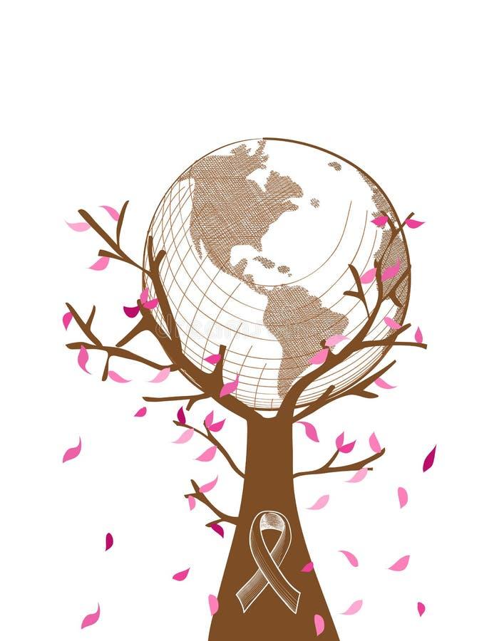 Illust global da árvore do conceito da conscientização do câncer da mama ilustração do vetor