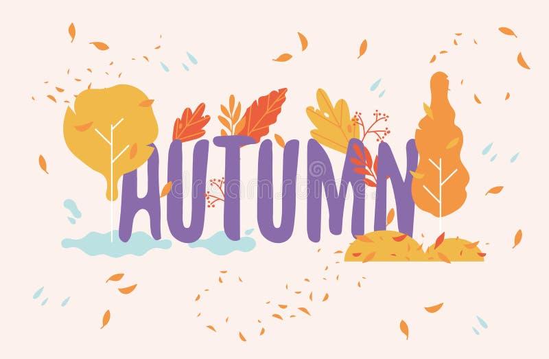 Illustartion вектора искусства текста осени украшенного с красными и оранжевыми абстрактными деревьями и падая листьями иллюстрация штока