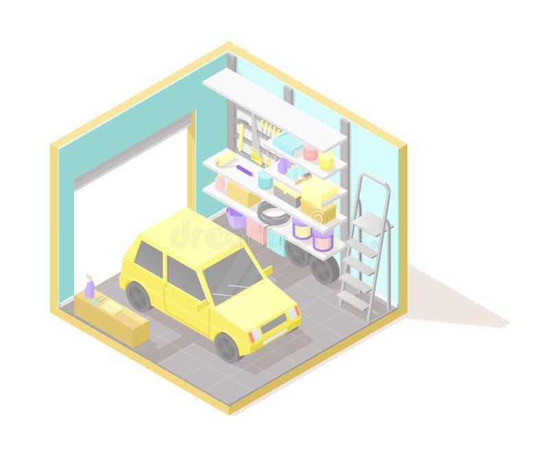 Illustartion интерьера cutaway вектора равновеликое низкое поли гараж иллюстрация вектора