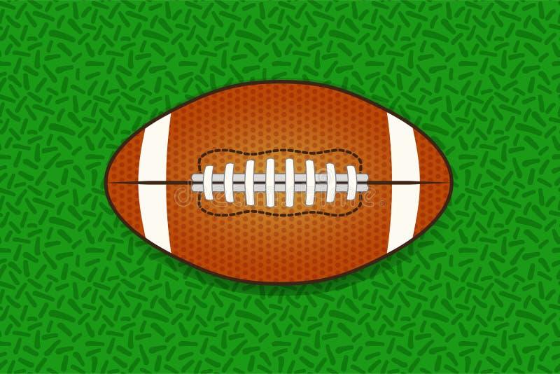 Illustartion av bollen för amerikansk fotboll som isoleras på grönt gräs vektor illustrationer