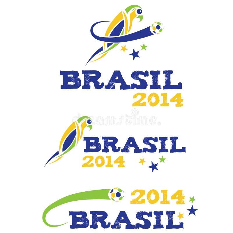 Illustartion Brasilien 2014 med papegojan royaltyfri illustrationer