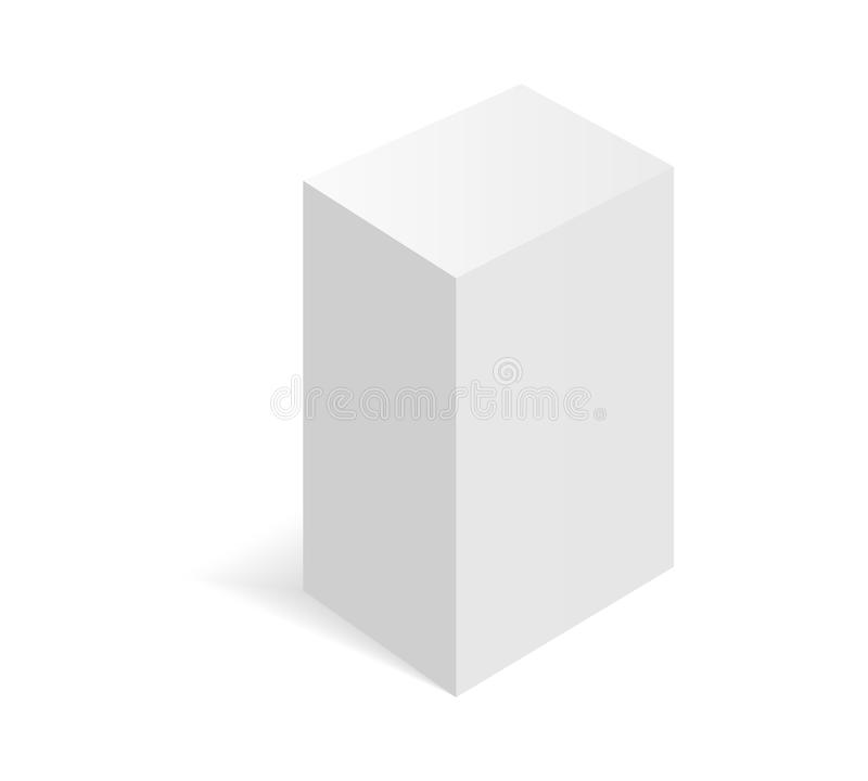 Illustartion da caixa isométrica branca Caixa de empacotamento da caixa ilustração do vetor