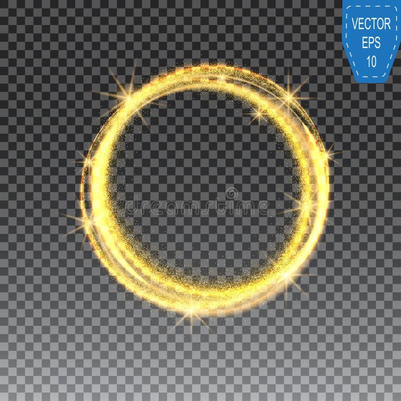 Illustartion de cercle éclatant de la poussière d'étoile d'or sur le fond à carreaux, dirigent les traînées tordues brillantes de illustration de vecteur