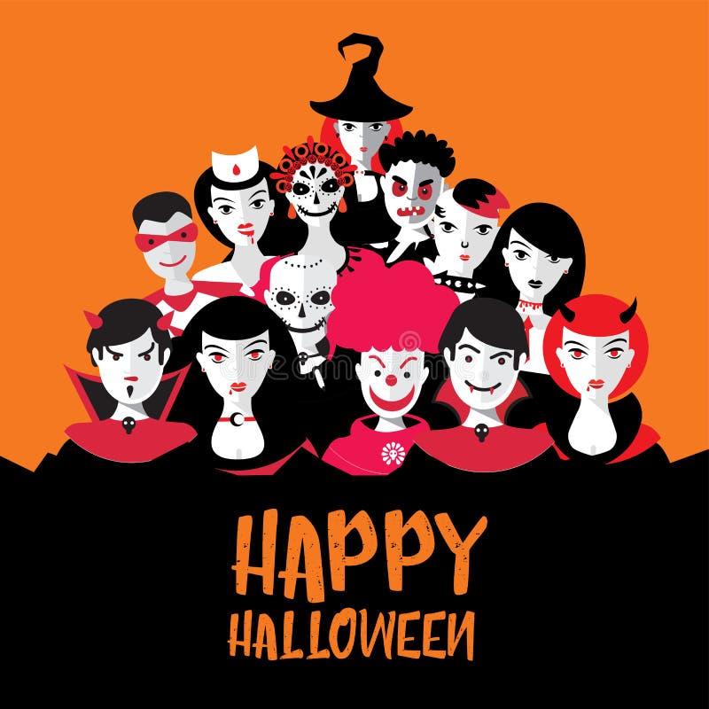 Illustartion de Dia das Bruxas com os povos nos trajes Partido da noite com monstro Grupo de Cosplay Ilustra??o lisa ilustração stock