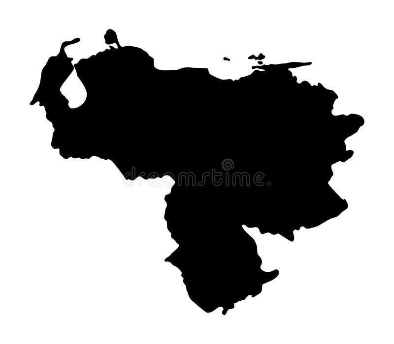 Illustartion del vector de la silueta del mapa de Venezuela stock de ilustración