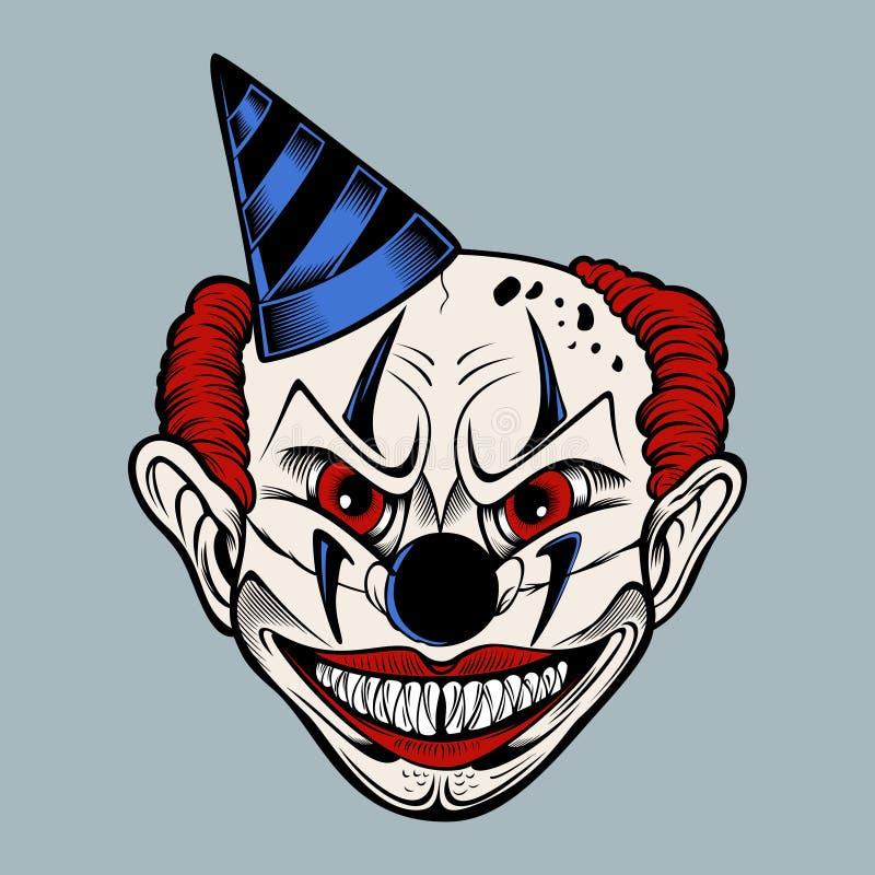 Illustartion des furchtsamen Clowns der Karikatur vektor abbildung