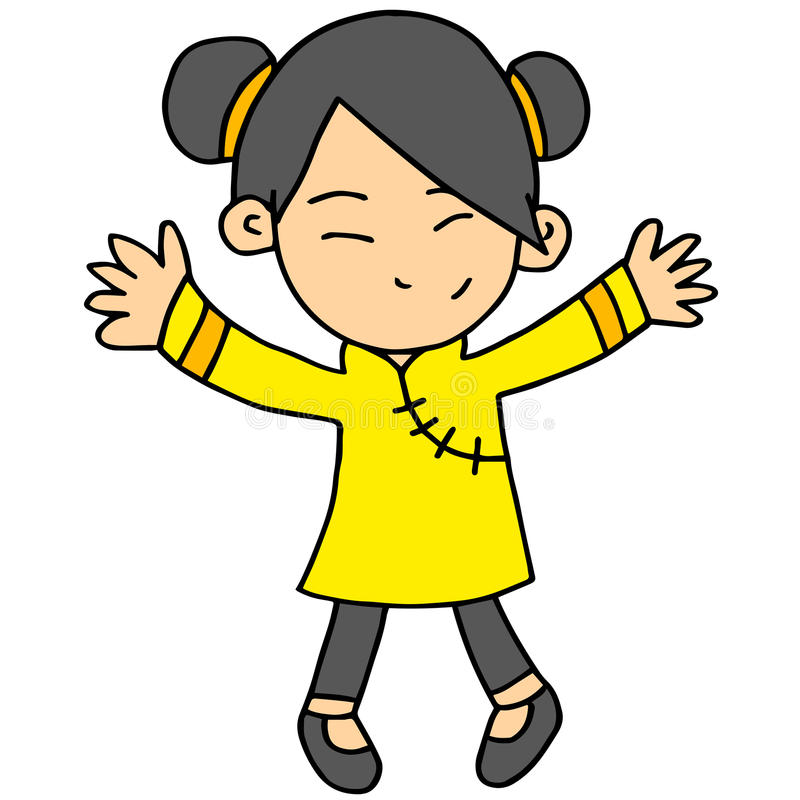 Illustartion do vetor do caráter chinês da menina ilustração royalty free