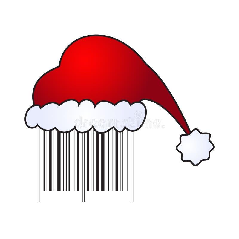 Illustartion du capuchon de Santa sur le code barres illustration libre de droits