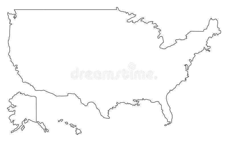 Illustartion för vektor för Amerikas förenta stateröversiktsöversikt översikten för konturöversikten anger USA vektor illustrationer