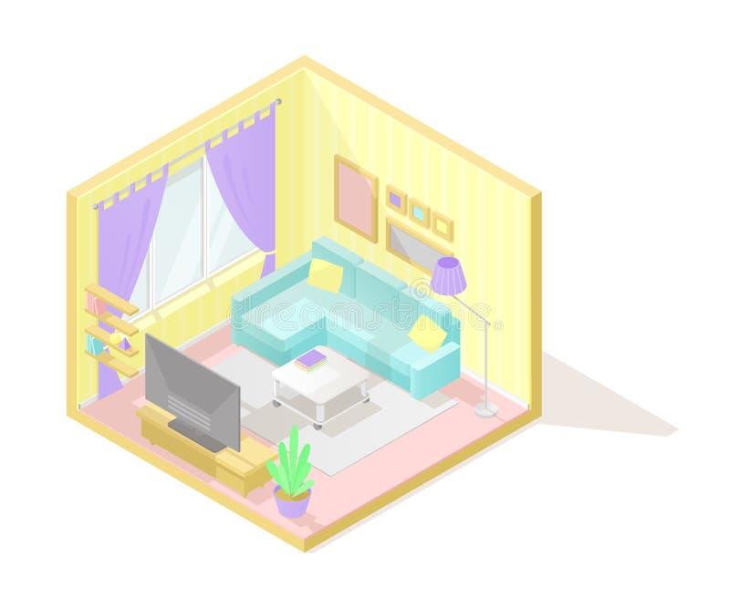 Illustartion intérieur coupé isométrique de vecteur bas poly Salle de séjour illustration de vecteur