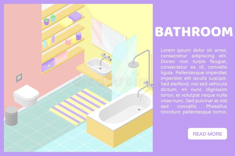 Illustartion interior cortado polivinílico bajo isométrico del vector Cuarto de baño Bandera para un sitio web libre illustration