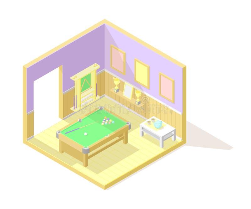 Illustartion interior cortante poli isométrico do vetor baixo Sala do bilhar ou de associação ilustração stock