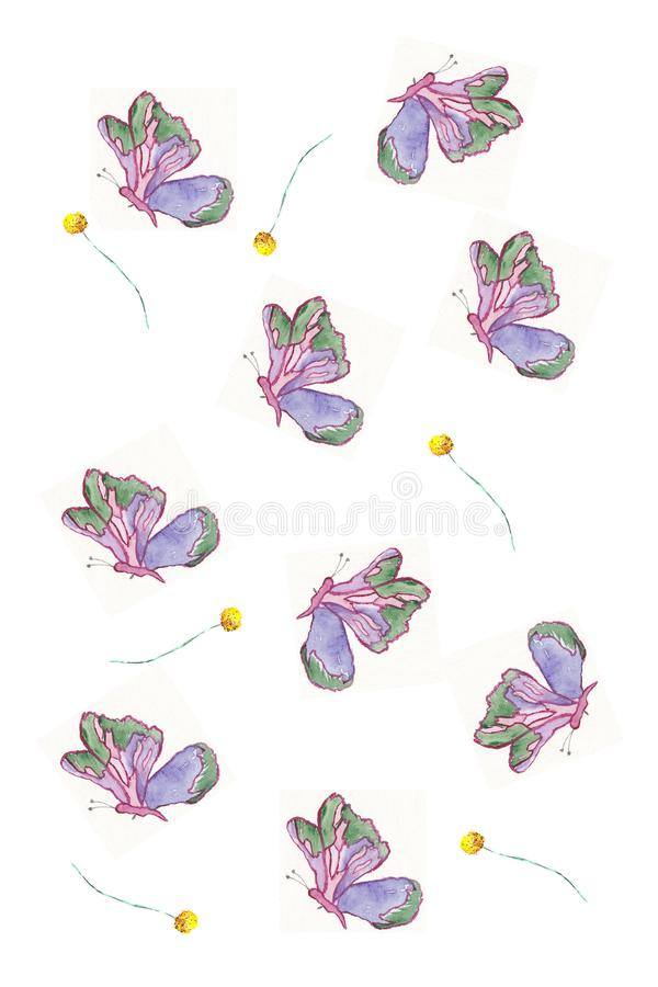 Illustartion romanric mignon violet de carte de papillon d'aquarelle illustration libre de droits