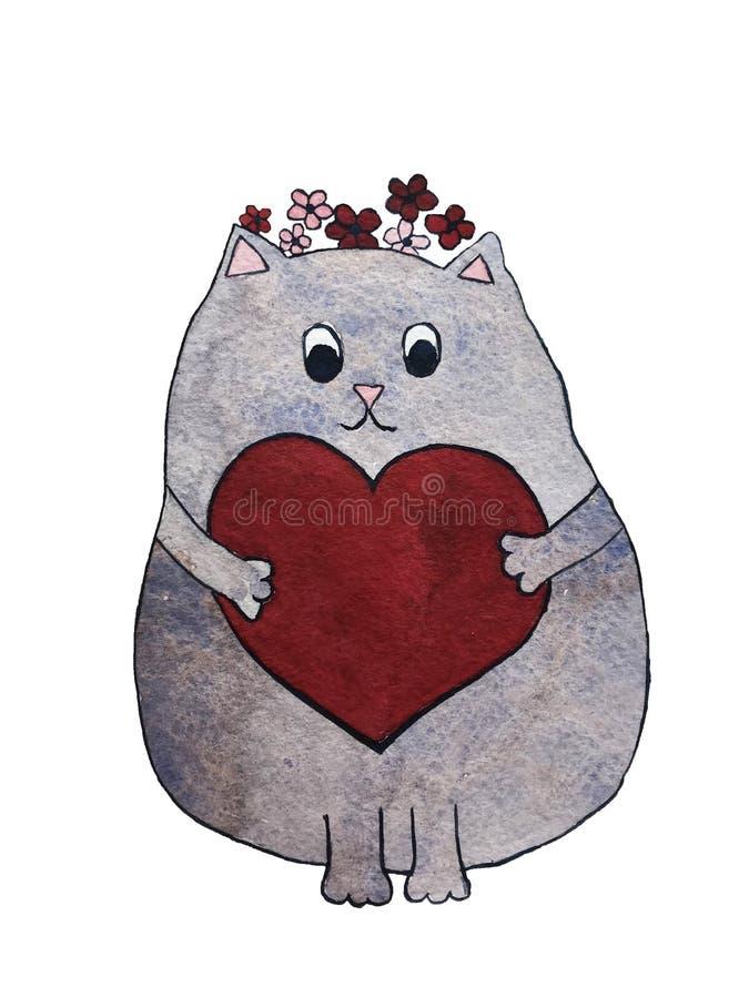 Illustartion Watercolor της χαριτωμένης γάτας με την καρδιά και τα λουλούδια ελεύθερη απεικόνιση δικαιώματος