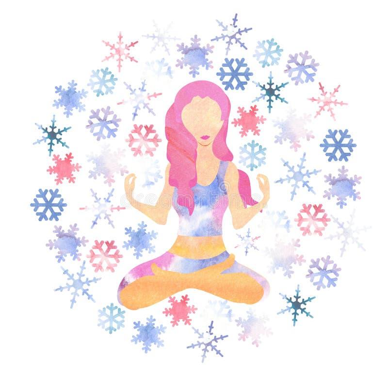 Illustartion of woman with pink hair meditating in cold season stock illustration